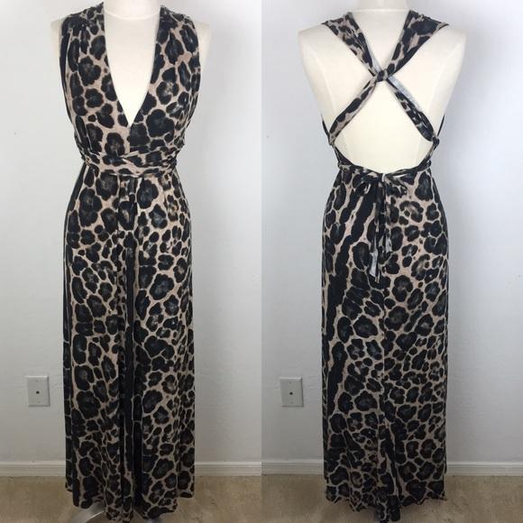 773dcb6fc9f Reformation Cheetah Print Maxi Halter Dress Medium.  M 5c5e3ef2a5d7c64c3c077376